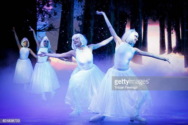 Cast from The Imperial Ice Stars perform the Snowflake scene from The Nutcracker On Ice at Hyde Park Winter Wonderland on November 21 2016 in London...