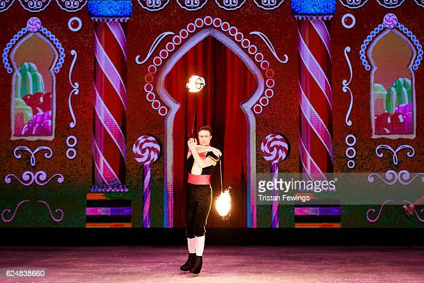 Cast from The Imperial Ice Stars perform the Spanish Dance from The Nutcracker On Ice at Hyde Park Winter Wonderland on November 21 2016 in London...