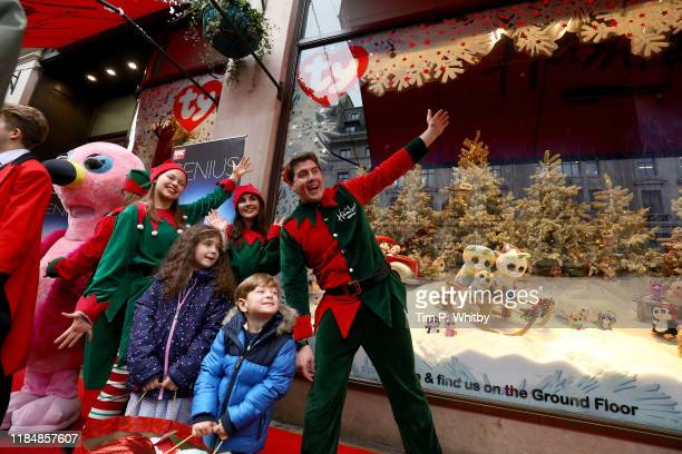 Cast from the West End's show Matilda unveiled this year's Christmas window display at Hamleys Regents Street on November 1st in London England