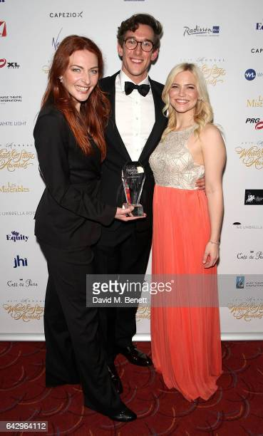 Cast from Wicked Willemijn Verkaik Oliver Savile and Suzie Mathers attends The 17th Annual WhatsOnStage Awards at The Prince of Wales Theatre on...