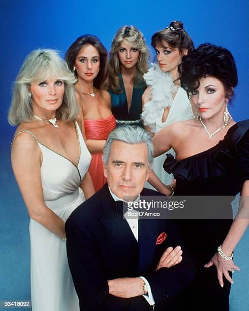 DYNASTY Cast gallery Season Two 10/15/81 John Forsythe and the Dynasty women from left Linda Evans Pamela Bellwood Heather Locklear Pamela Sue Martin...