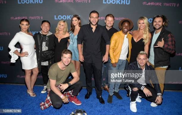 Cast group photo at the premiere party for LookHu's Slasher Party at ArcLight Hollywood on September 18 2018 in Hollywood California