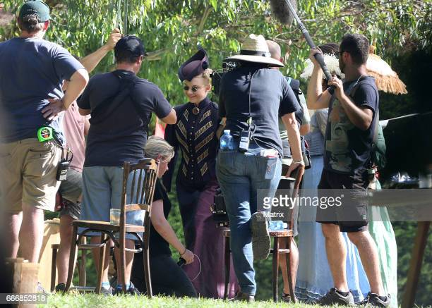 Cast including Natalie Dormer and extras arrive at Como House in Como Park for filming of the TV series 'Picnic At Hanging Rock' on March 28 2017 in...