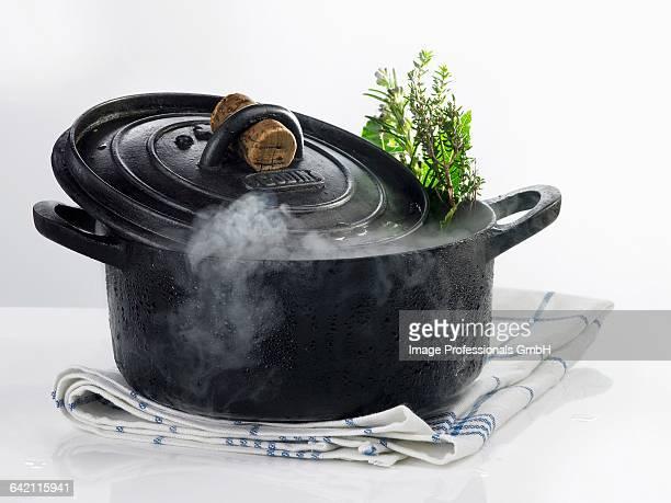 Cast iron casserole dish with steam