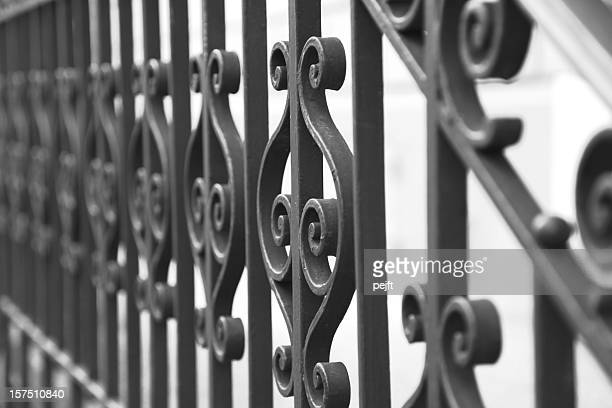 Cast iron fence black and white full frame