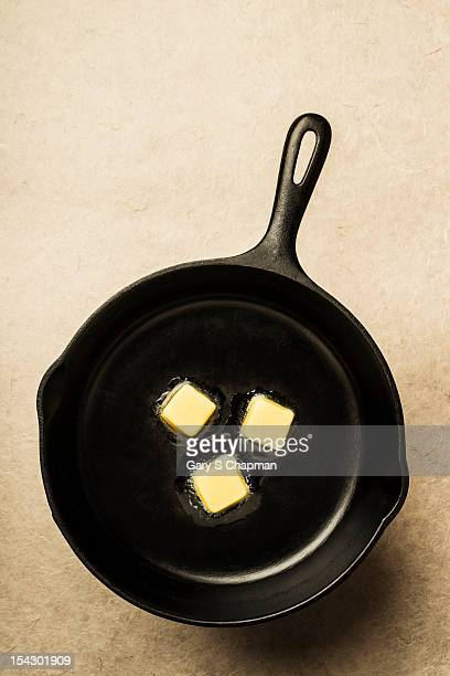 Cast iron skillet and sizzling butter