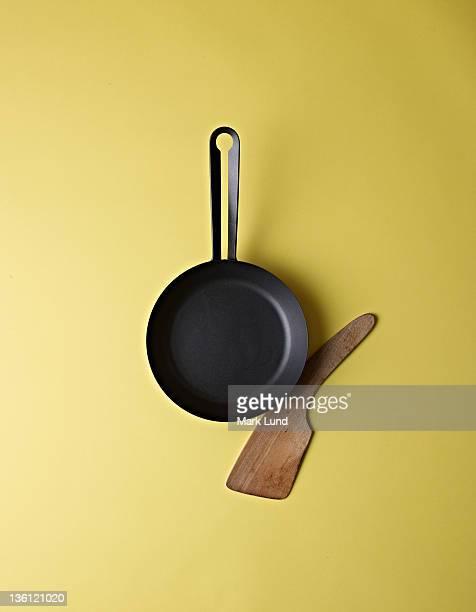Cast Iron Skillet and Wood Spatula