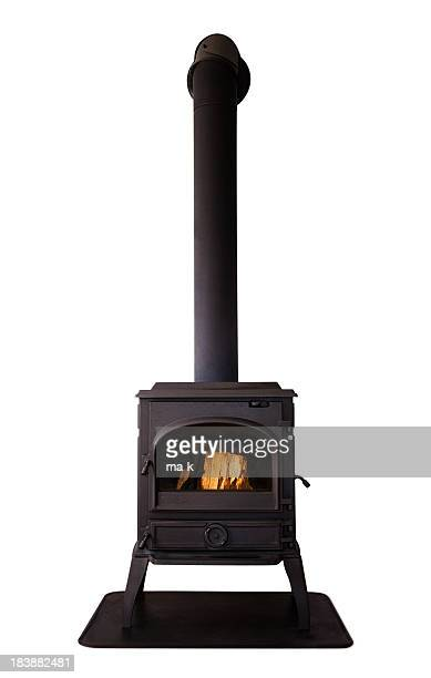 cast iron stove isolated on white background - fornuis stockfoto's en -beelden