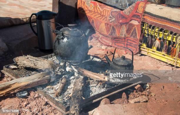 Cast Iron Teapot with Tea, Bedouin tea , Petra, Jordan