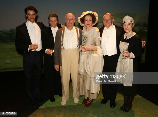 cast Jacob FortuneLloyd Anthony Calf Roger Allam Nancy Carroll Paul Jesson and Jade Williams pose backstage following the press night performance of...