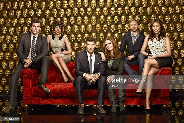 Cast LR John Francis Daley Tamara Taylor David Boreanaz Emily Deschanel TJ Thyne and Michaela Conlin The ninth season of BONES premieres Monday Sept...