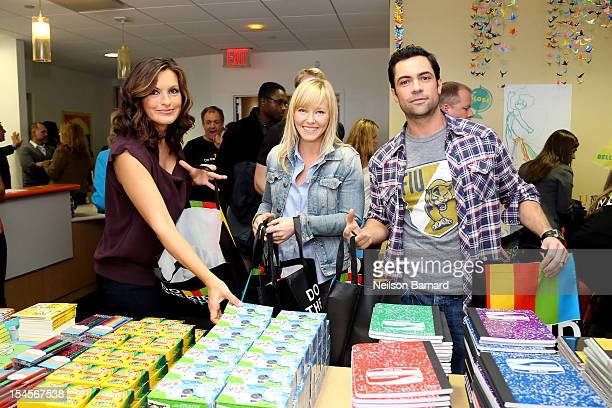 SVU cast Mariska Hargitay Kelli Giddish and Danny Pino package healing kits for children currently seeking services at Safe Horizon's Manhattan Child...