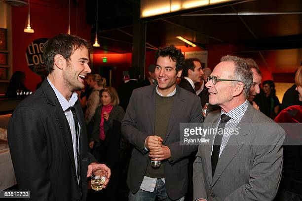 Cast member actor Brian Henderson actor Josh Radnor and actor Ron Rifkin chat during the opening night party for 'The Little Dog Laughed' at the...