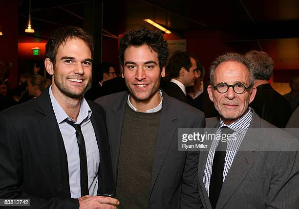 Cast member actor Brian Henderson actor Josh Radnor and actor Ron Rifkin pose during the opening night party for 'The Little Dog Laughed' at the...