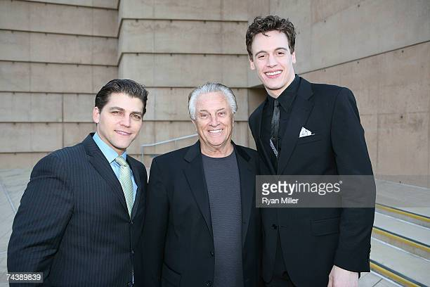 Cast member Actor Deven May Four Season Musician Tommy DeVito and Castmember Actor Erich Bergen pose during the opening night party for 'Jersey Boys'...