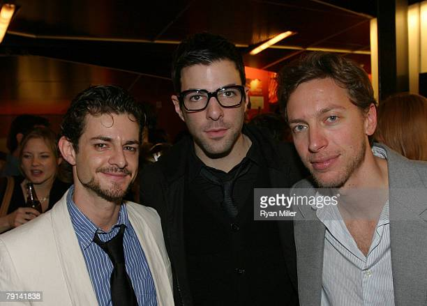 Cast member actor Ian Unterman actor Zachary Quinto and composer and lyricist Michael Friedman pose during the opening night party for the World...