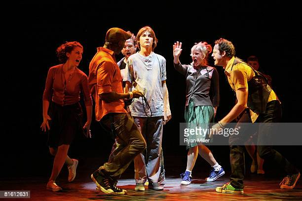 Cast member actor Lorenzo Doryon performs surounded by the ensemble cast during the dress rehearsal of The Who's 'Tommy' held at the Richardo...