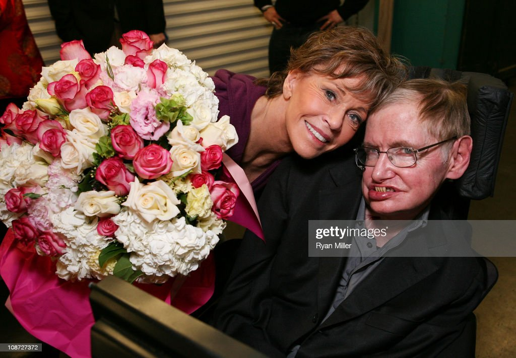 Cast member actress Jane Fonda (who portrays a Musicologist with ALS) (L) and Physicist Stephen Hawking (R) pose backstage after a preview performance of '33 Variations' at Center Theatre Group's Ahmanson Theatre on February 1, 2011 in Los Angeles, California.