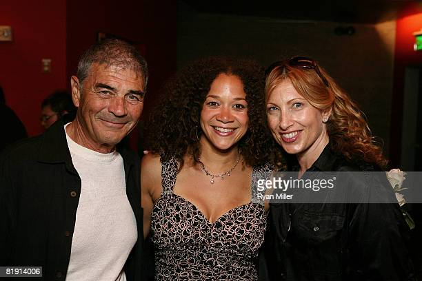Cast member actress Michole Briana White poses with actors Robert Forester and Denise Grayson during the party for the World Preimere Play Of Equal...