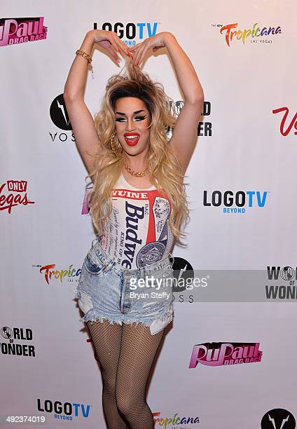 Cast member Adore Delano arrives at a viewing party for the season six finale of RuPaul's Drag Race at the New Tropicana Las Vegas on May 19 2014 in...