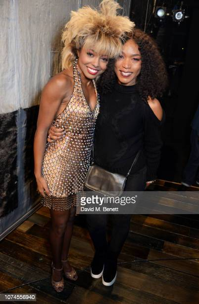 Cast member Adrienne Warren and Angela Bassett pose backstage at the West End production of Tina The Tina Turner Musical at The Aldwych Theatre on...