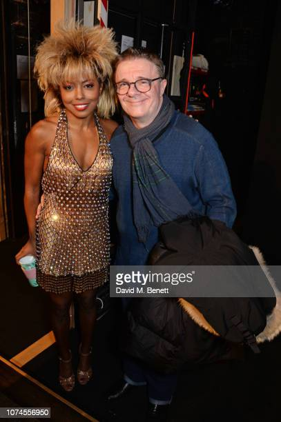 Cast member Adrienne Warren and Nathan Lane pose backstage at the West End production of Tina The Tina Turner Musical at The Aldwych Theatre on...