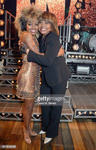 Cast member Adrienne Warren and Tina Turner pose backstage at the press night performance of Tina The Tina Turner Musical at the Aldwych Theatre on...