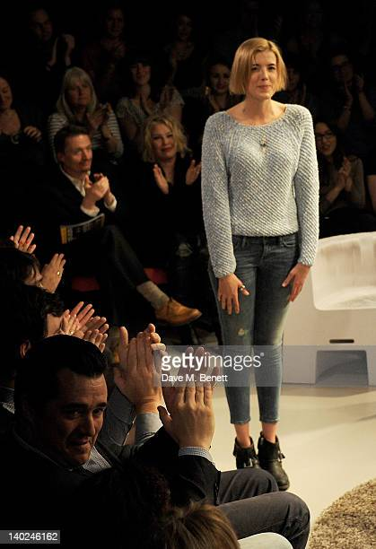 Cast member Agyness Deyn bows at the curtain call during the press night performance of 'The Leisure Society' at Trafalgar Studios on March 1 2012 in...