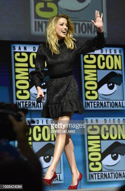 Cast member Amber Heard participates during the Warner Bros Theatrical Panel for 'Aquaman' at Comic Con in San Diego July 21 2018
