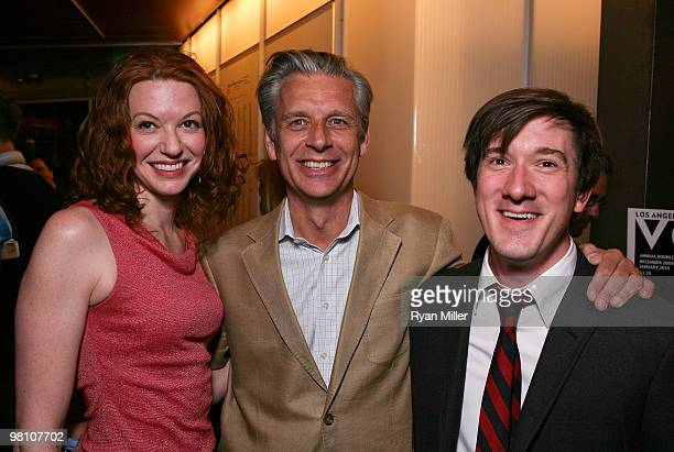 Cast member Andrea Frankle CTG Artistic Director Michael Ritchie and cast member Carson Elrod pose during the party for the opening night performance...