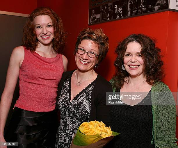 Cast member Andrea Frankle Playwright Lisa Kron and cast member Deirdre O'Connell pose during the party for the opening night performance of 'The...