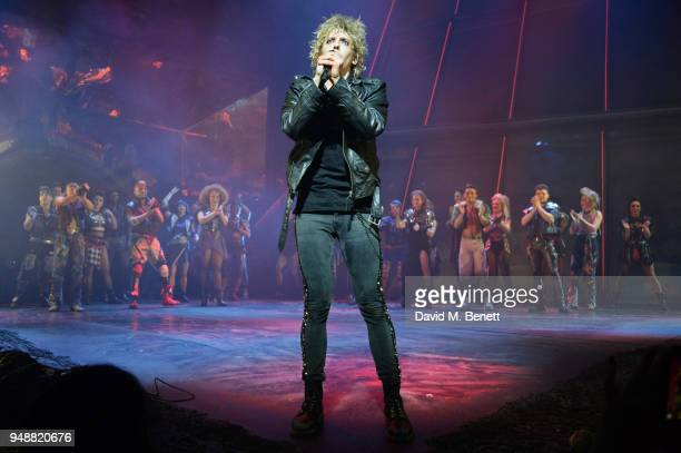 Cast member Andrew Polec bows at the curtain call during the Gala Night performance of 'Bat Out Of Hell The Musical' at The Dominion Theatre on April...