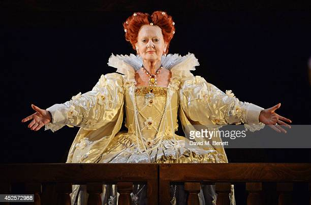Cast member Anna Carteret bows at the curtain call during the press night performance of Shakespeare In Love at The Noel Coward Theatre on July 23...