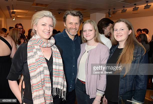 Cast member Anthony Calf wife Caroline Harker and children attend an after party following the press night performance of Fathers and Sons at The...