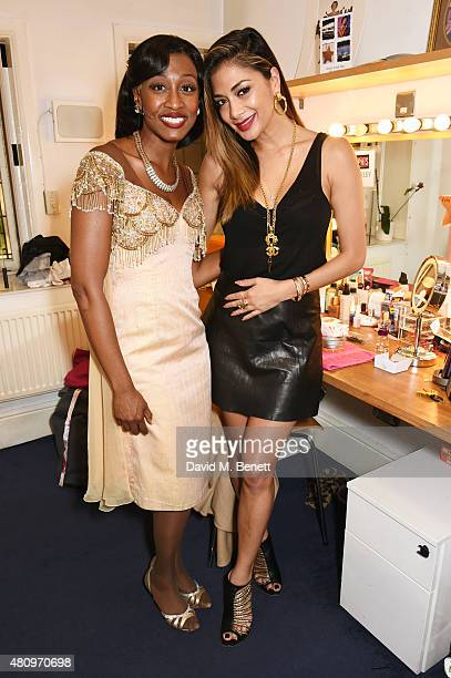 "Cast member Beverley Knight and Nicole Scherzinger pose backstage following the media night performance of ""Memphis The Musical"" featuring new cast..."