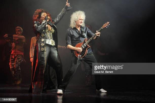 Cast member Brenda Edwards and Queen musician Brian May perform at the curtain call during the We Will Rock You 10 Year Anniversary Celebration...