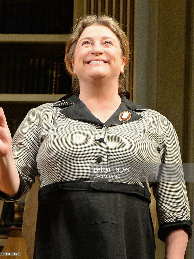 Cast member Caroline Quentin bows at the curtain call during the press night performance of 'Relative Values' at the Harold Pinter Theatre on April 14, 2014 in London, England.
