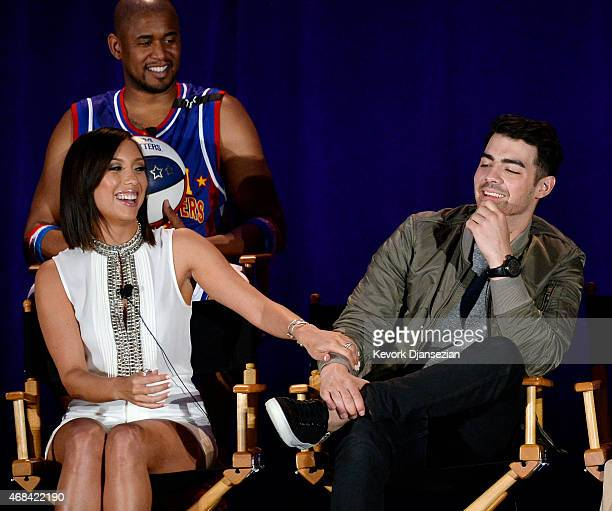 Cast member Cheryl Burke and Joe Jonas of the unconventional variety show I Can Do That participate in a panel during NBCUniversal Summer Press Day...