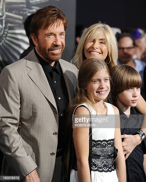 Cast member Chuck Norris arrives with his wife Gena O'Kelly and their children at the film premiere of The Expendables 2 at Grauman's Chinese Theatre...