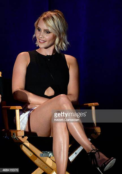 Cast member Claire Holt participates in a panel of Aquarius during NBCUniversal Summer Press Day on April 2 2015 in Pasadena California