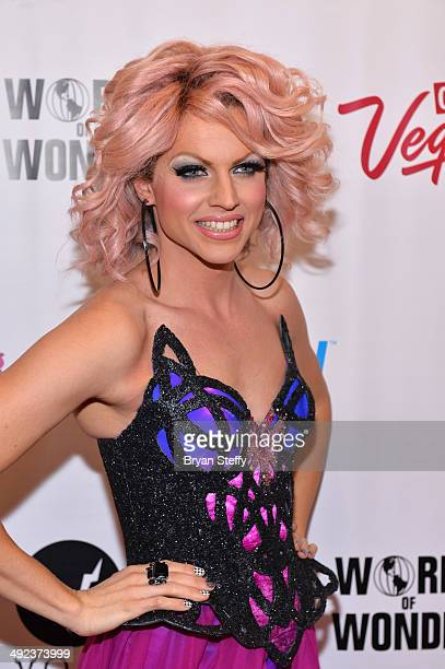 Cast member Courtney Act arrives at a viewing party for the season six finale of RuPaul's Drag Race at the New Tropicana Las Vegas on May 19 2014 in...