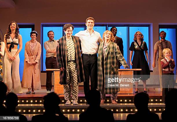 Cast member Damian Humbley Mark Umbers and Jenna Russell bow at the curtain call during the press night performance of the Menier Chocolate Factory's...
