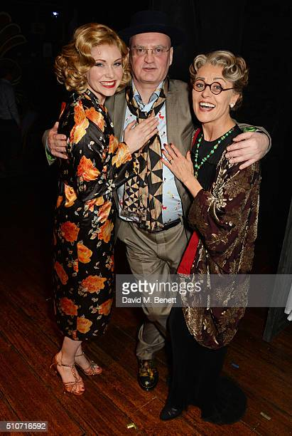Cast member Emma WIlliams Writer/Director Terry Johnson and cast member Tracie Bennett pose backstage during the press night performance of Mrs...