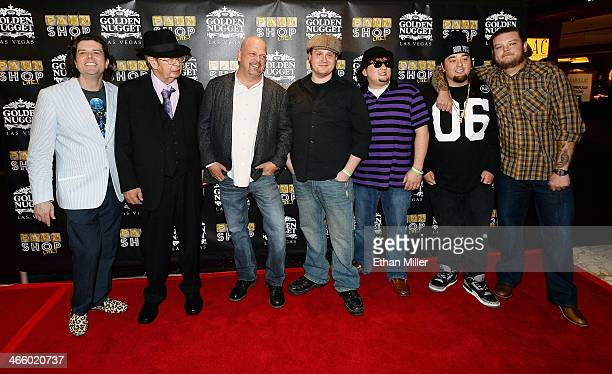 """Cast member Enoch Scott, Richard """"The Old Man"""" Harrison, Rick Harrison, cast members Gus Langley and Garret Grant, Austin """"Chumlee"""" Russell and Corey..."""