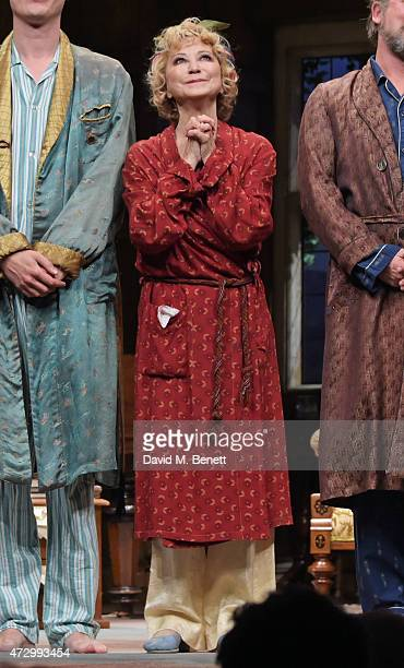 Cast member Felicity Kendal bows at the curtain call during the press night performance of Hay Fever at the Duke Of Yorks Theatre on May 11 2015 in...