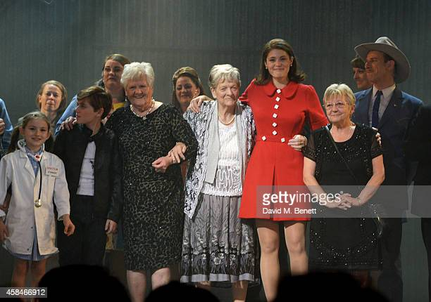 Cast member Gemma Arterton and the company of Made In Dagenham bow with reallife Dagenham strikers Eileen Pullen Vera Sime and Sheila Douglass during...
