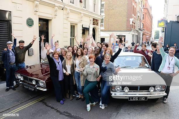 Cast member Gemma Arterton poses with Isla Blair Adrian der Gregorian David Cardy Heather Craney and SophieLouise Dann pose with the Made In Dagenham...