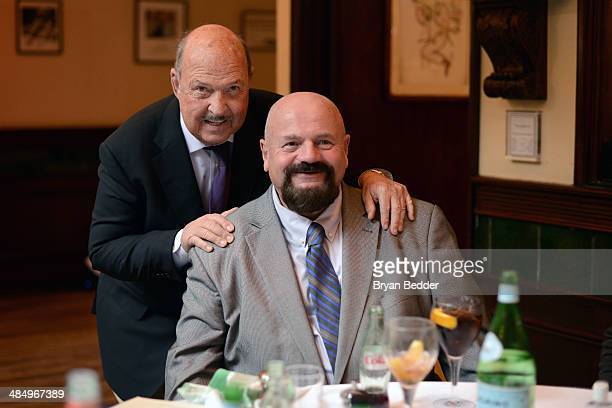 Cast member Gene Okerlund and Howard Finkel attend the WWE screening of Legends' House at Smith Wollensky on April 15 2014 in New York City
