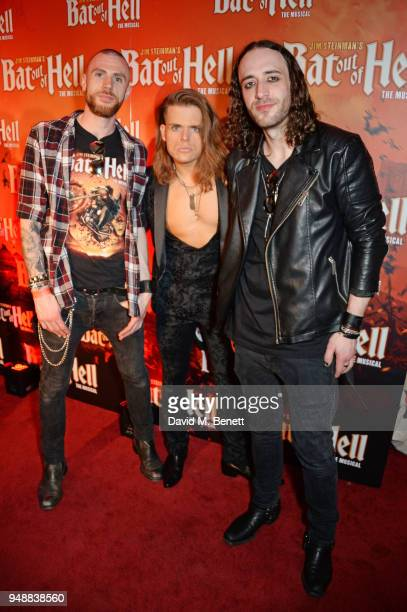 Cast member Giovanni Spano and members of his band deVience attend the Gala Night after party for 'Bat Out Of Hell The Musical' at the Bloomsbury...