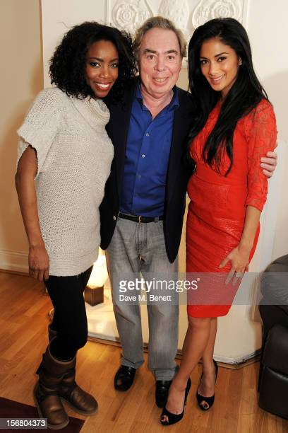Cast member Heather Headley Lord Andrew Lloyd Webber and Nicole Scherzinger pose backstage at the West End production of 'The Bodyguard' playing at...